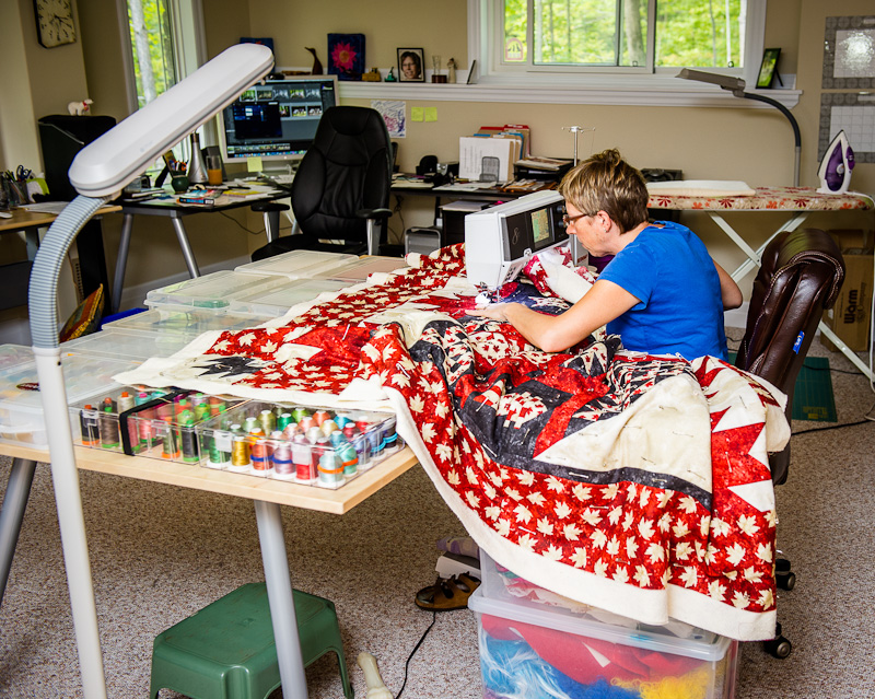 Makeshift Quilt Table Extension in Use