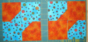 Lay out squares in bow tie design.