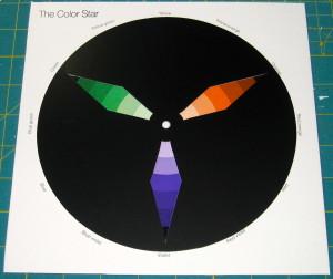 Secondary colours - green, orange & purple.