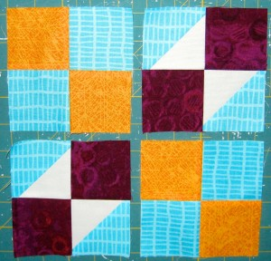 Layout rows as per photo and sew units together in each row.