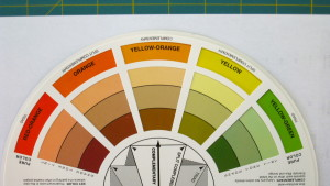This colour wheel shows the puree colour in the outermost ring, then the tint in the next ring, followed by tone in the next ring and finally shade in the inner most ring.