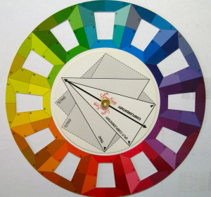 This colour wheel divides each colour area up into 7 sections to represent tints, shades and tones.