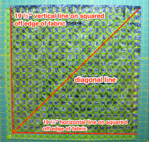 Align ruler on squared up side of block with diagonal line in bottom left corner.