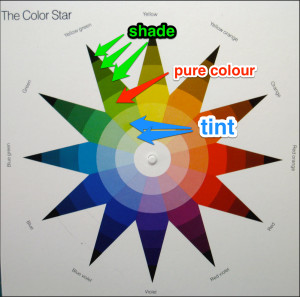 Each colour on the star has the pure colour in the middle, the shades going out to the tip and the tints inward to the centre.