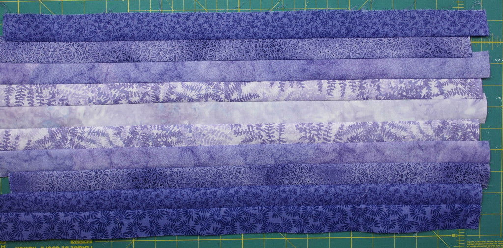 The strips sewn together