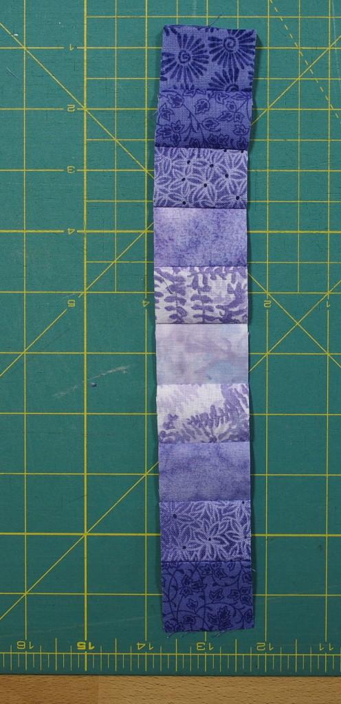 One strip opened between fabrics A & B