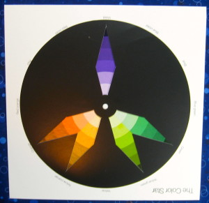 Purple dominant split complimentary plus scheme on colour star