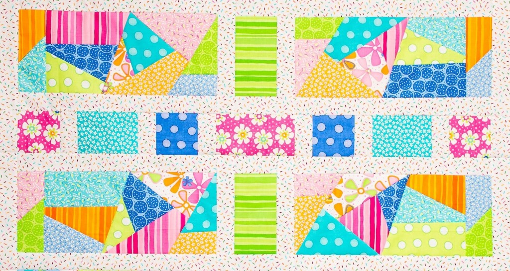 Middle rows of Spring Fling Shuffle the Deck Quilt