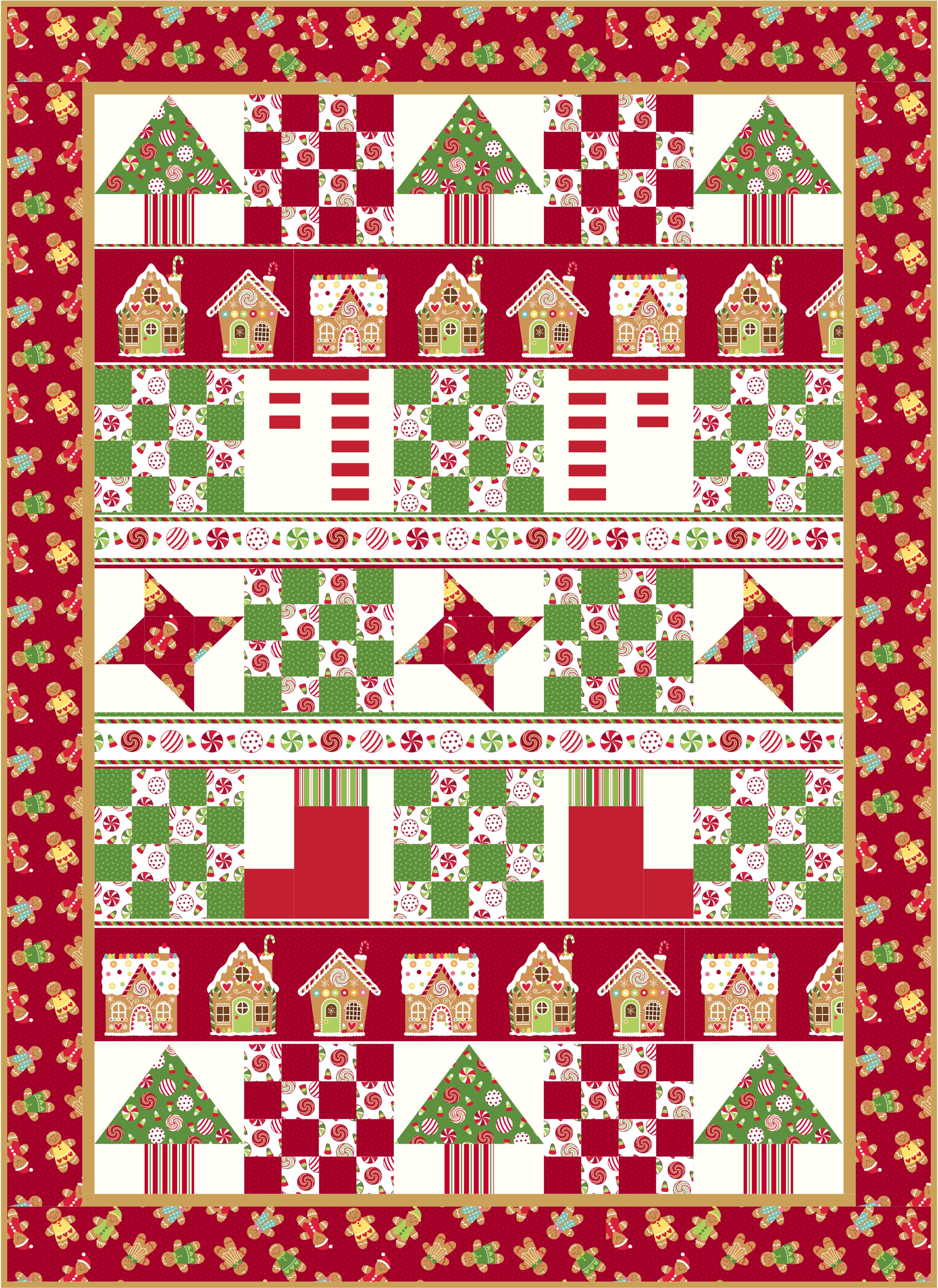 Christmas Quilt Patterns.Peppermint Candy Christmas Quilt Pattern Download