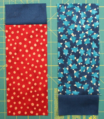 A modern quilt with the modern fabric line called Simple Marks sewing the small rectangle to the large rectangle