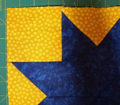 square sewn in one corner