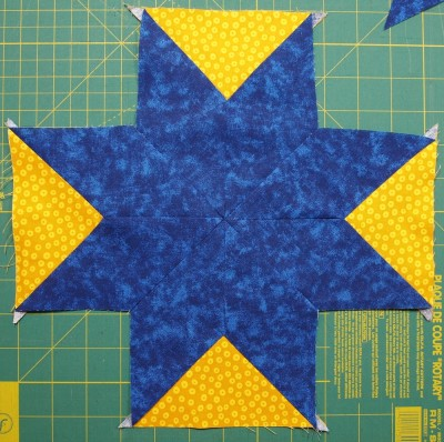 triangles sewn in place