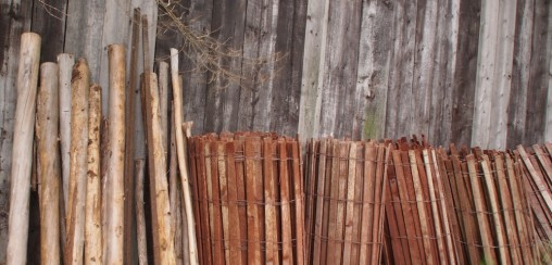 fencing against a shed wall