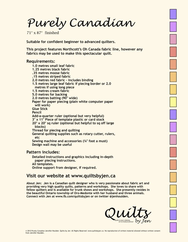 Purely Canadian Sesquicentennial Anniversary Quilt Download ... : quilting material canada - Adamdwight.com