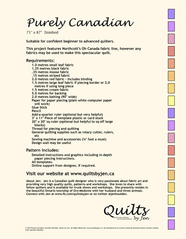 Purely Canadian Sesquicentennial Anniversary Quilt Download ... : quilt fabrics canada - Adamdwight.com