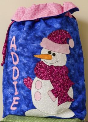 Snowgirl Santa Sack Gift Bag