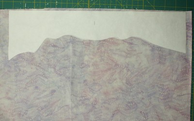 Template ironed to fabric
