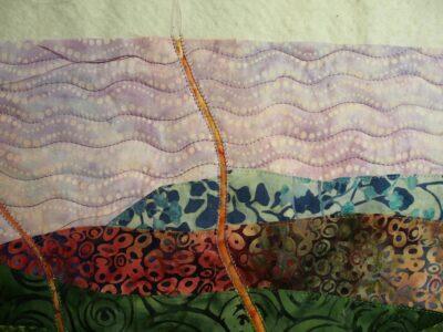 wavy line stitching in sky