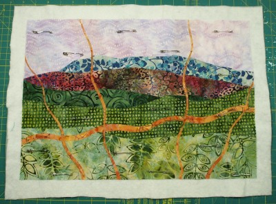 quilt layers pinned together