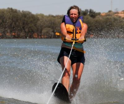 waterskiing on one ski