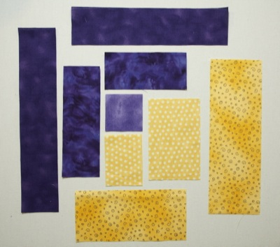 Yellow and purple pieces for the block