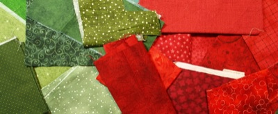 Array of red and green fabrics