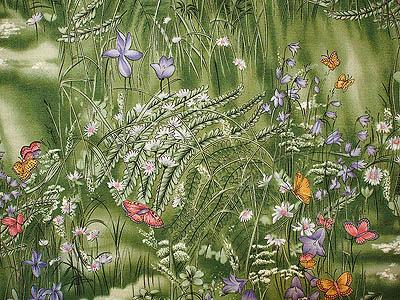 fabric with a garden motif