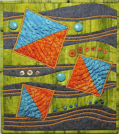 Beads and buttons add a little pizzaz to this art quilt