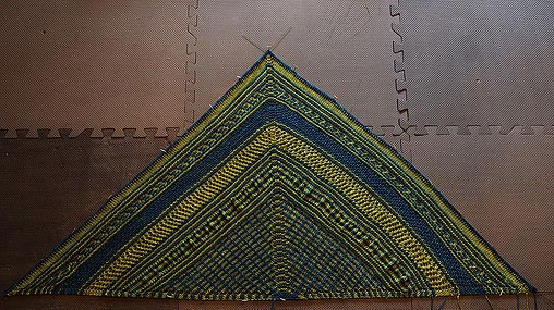 blue and green knitted shawl