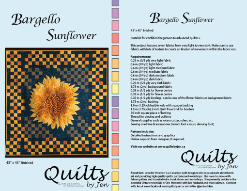 Bargello Sunflower Quilt Pattern Full Cover Details and Fabric Requirements