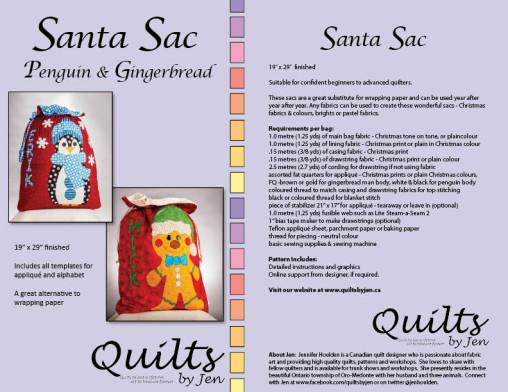 Santa Sac Pattern Cover for Penguin Gingerbread Cookie Man