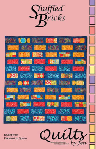 Shuffled Bricks Modern Quilt Pattern Cover