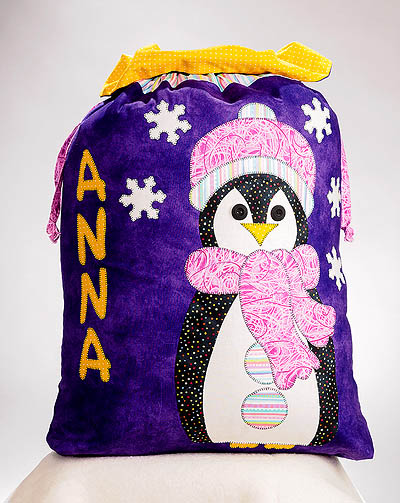 purple sac with a girl penguin
