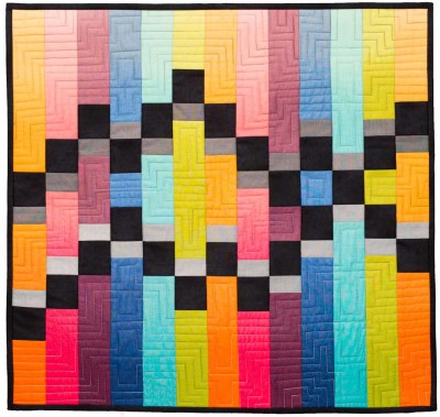 Merging Traffic stitch and flip wall hanging modern quilt