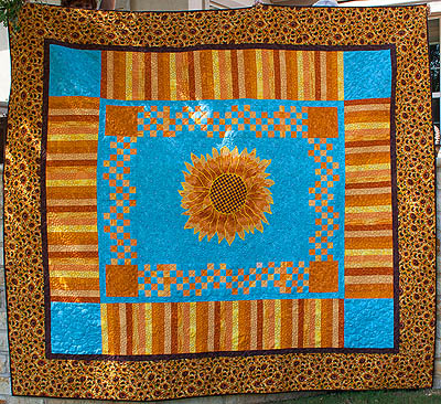 bed size sunflower quilt
