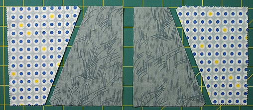 4 pieces cut with the whirligig template