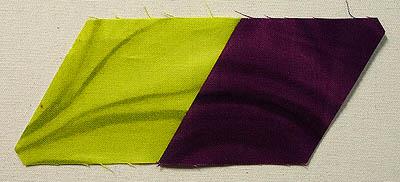 green and purple diamonds sewn together
