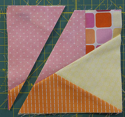 Block cut into two on an angle