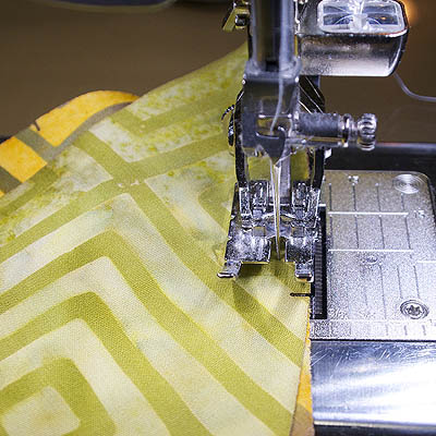 Fabric under the machine and notches meeting up