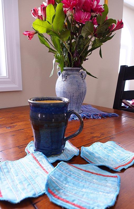 Coasters, mug and flowers