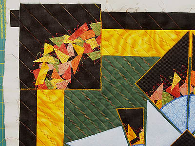 Straight line and zigzag quilting in the corners