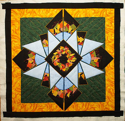 Brown border added to all four sides of quilt