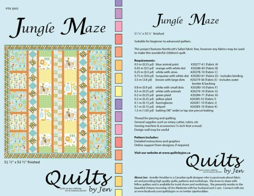 Jungle Maze Children's Quilt Pattern Full Cover with Fabric Requirements