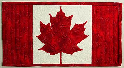 a Canadian flag mug rug