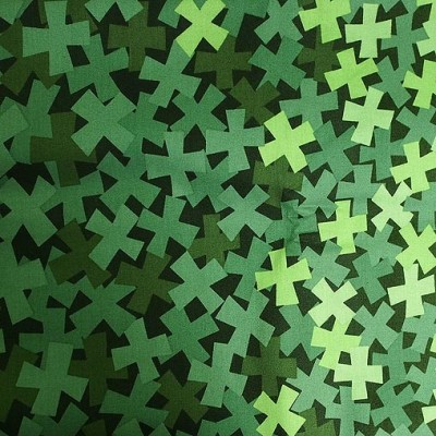 Light and dark coloured X's in green