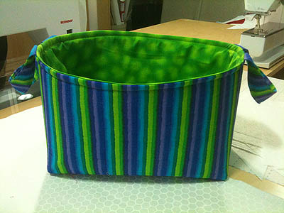 lime green, purple and turquoise one hour basket