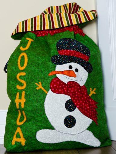 Snow man Christmas gift bag Santa sac