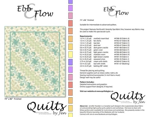 Ebb and Flow Quilt in Serenity Spa fabrics and snail scroll blocks