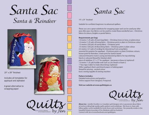 Santa and Rudolph Santa sac pattern cover with fabric requirements