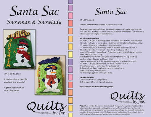 Snowman Snowlady Santa sac pattern cover with fabric requirements